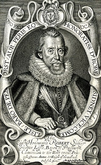 Robert Sidney, 1st Earl of Leicester - Engraved portrait of Sidney by Simon de Passe, 1617