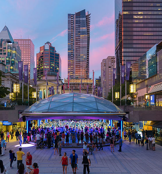 evening at Robson Square, central vancouver
