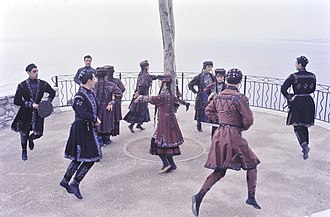 Intangible cultural heritage of Georgia - Georgian dancers performing Perkhuli in 1965