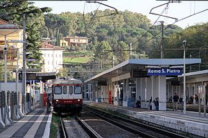 Roma San Pietro railway station - View of the station yard, 2012.