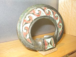 Terret - Romano-British enamelled bronze harness terret, made in 1st-century Britain, found in France