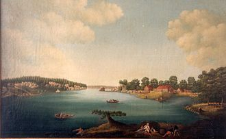 Ropsten - Painting by Piere Joseph Trere from 1795 showing the area around Ropsten before the first bridge was built between Stockholm (to the right) and Lidingö (to the left). The large rock in the middle of the painting has named the place. A ferry is on its way from Ropsten to Lidingö with a horse and cart on board.