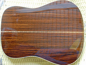 Rosewood - Back of guitar made with East Indian rosewood (Dalbergia latifolia)