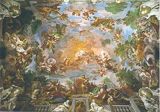Mariano Rossi - Ceiling fresco depicting Camillus in battle while Romulus pleads with Jove, located in room of Villa Borghese
