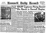Incident de l'ovni de incident de Roswell (USA) Date: 09 juillet 1947 Source : The Roswell Daily Record