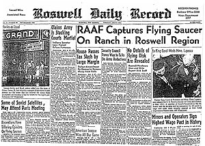 "Roswell UFO incident - Roswell Daily Record, July 8, 1947, announcing the ""capture"" of a ""flying saucer"""