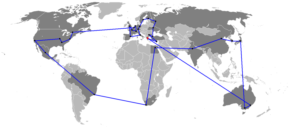 Route of Olympic Flame Worldwide for the 2004 Summer Olympics