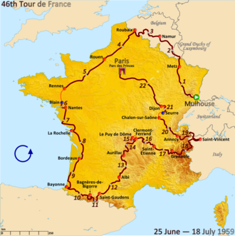1959 Tour de France - Route of the 1959 Tour de France followed counterclockwise, starting in Mulhouse and finishing in Paris