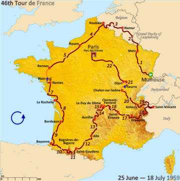 Route of the 1959 Tour de France followed counterclockwise, starting in Mulhouse and finishing in Paris
