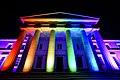 Royal Military Academy Sandhurst lit in rainbow for 2016 Pride (2).jpg