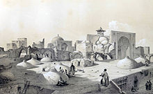 Royal Mosque and terraces of houses, Qazvin by Eugène Flandin.jpg
