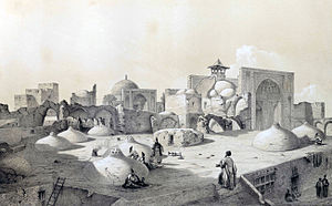 Al-Nabi Mosque, Qazvin - Image: Royal Mosque and terraces of houses, Qazvin by Eugène Flandin