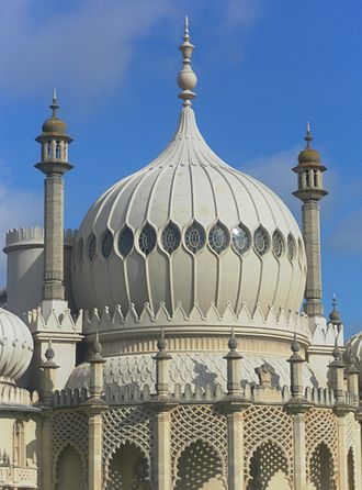 """Buildings and architecture of Brighton and Hove - The """"enchanting oriental humour of the Royal Pavilion"""" influenced subsequent architecture in Brighton and other seaside resorts."""