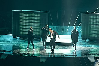 """Russia in the Eurovision Song Contest 2011 - Alex Vorobyov performing """"Get You"""" at the final of the Eurovision Song Contest 2011 on May 14, 2011"""