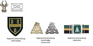 Johannesburg Regiment - SADF era Johannesburg Regiment insignia