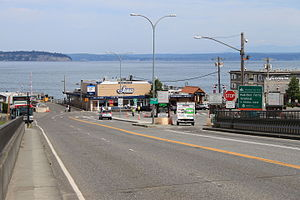 Washington State Route 525 - SR 525 and its holding lanes at the Mukilteo ferry terminal