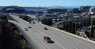 Interstate 90 in Washington - Looking west at the intersection of I-90 and I-5 in downtown Seattle