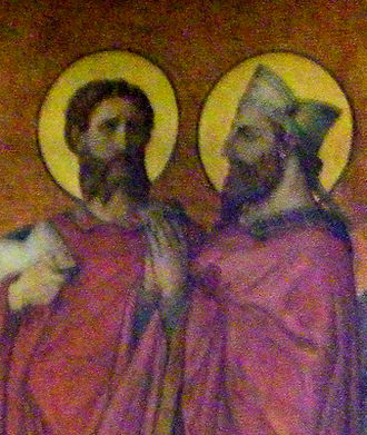 Melaine - Detail of a fresco in Rennes Cathedral representing St Melaine (right) with Amand of Rennes (left)