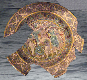 Saintonge - Saintonge polychrome dish in the style of Bernard Palissy, mid-1500s, excavated in London. London Museum.