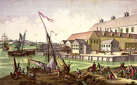 Shipping scene in Salem, Massachusetts, a shipping hub, in the 1770s Salem shipping colonial color.jpg