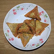 Samosas, snack food at Wikipedia's 16th Birthday celebration in Chittagong (01).jpg
