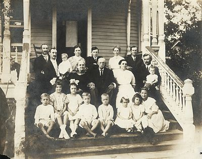 "Samuel Dibble I family of Orangeburg SC c. 1912 (date and identification assumptions based on ages of children by Ann Wyatt Dibble); Back row: Samuel Dibble II, Louis Virgil Dibble, Rosa Parsons Dibble (baby), Ann Eliza Leak Wyatt Dibble, Samuel Dibble Moss, Frances Agnes Dibble Moss, Benjamin Hart Moss, Middle row: Mary Christiana Louis Dibble, Samuel Dibble, Mary ""May"" Henley Watson, Whitefield William Watson, Agnes Adele Watson (baby);Front row: Samuel Gabeau Dibble ? twin, Annie Leak Dibble (Bradley), Mary Louis Watson (Coleman), Thomas Wyatt Dibble ? twin, Samuel Dibble ""Sam"" Watson; Angelina Wannamaker Watson (Mayes), Mary Agnes Dibble (Morris), Mary Caroline Moss."
