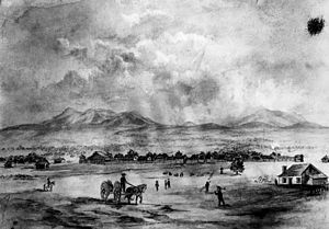 Biddy Mason - Drawing of San Bernardino, 1852, where she was illegally held captive in a Mormon settlement