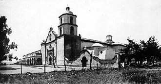 Spanish missions in California - Mission San Luis Rey de Francia, circa 1910. This mission is architecturally distinctive because of the strong Moorish lines exhibited.