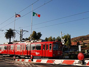 Blue Line (San Diego Trolley) - Blue Line train at Trolley at the US-Mexico Border