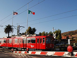 Blue Line (San Diego Trolley) - Blue Line train at the US-Mexico Border