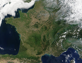 Outline of France - An enlargeable satellite image of Metropolitan France