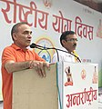 Satya Pal Singh addressing the participants, on the occasion of the 4th International Day of Yoga 2018, in Modinagar, Baghpat.JPG