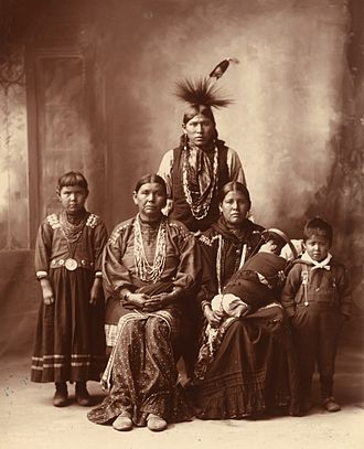 Sauk people - Sac Indian family photographed by Frank Rinehart in 1899