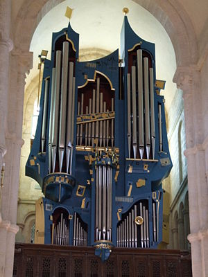 Organ building - Modern organ in Basilica of St. Andoche, Saulieu, France