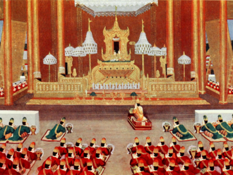 Hti - A Burmese painting depicts the white umbrellas used as regalia by the Burmese monarch on the throne.