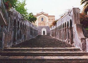 Paternò - The steps of the Mother Church of Santa Maria dell'Alto.