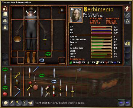 Character information and inventory screen in a typical computer role-playing game. Pictured here is the roguelike-like S.C.O.U.R.G.E.: Heroes of Lesser Renown. Note the paper doll in the top left portion of the image. Scourge character information.png