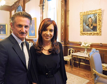 Sean Penn and President of Argentina Cristina Fernandez de Kirchner, during his visit to Argentina Sean Penn with Cristina Fernandez.jpg