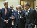 Secretary Kerry, Russian Foreign Minister Lavrov, UN Special Envoy Brahimi Walk Through UN Headquarters (9733310567).jpg