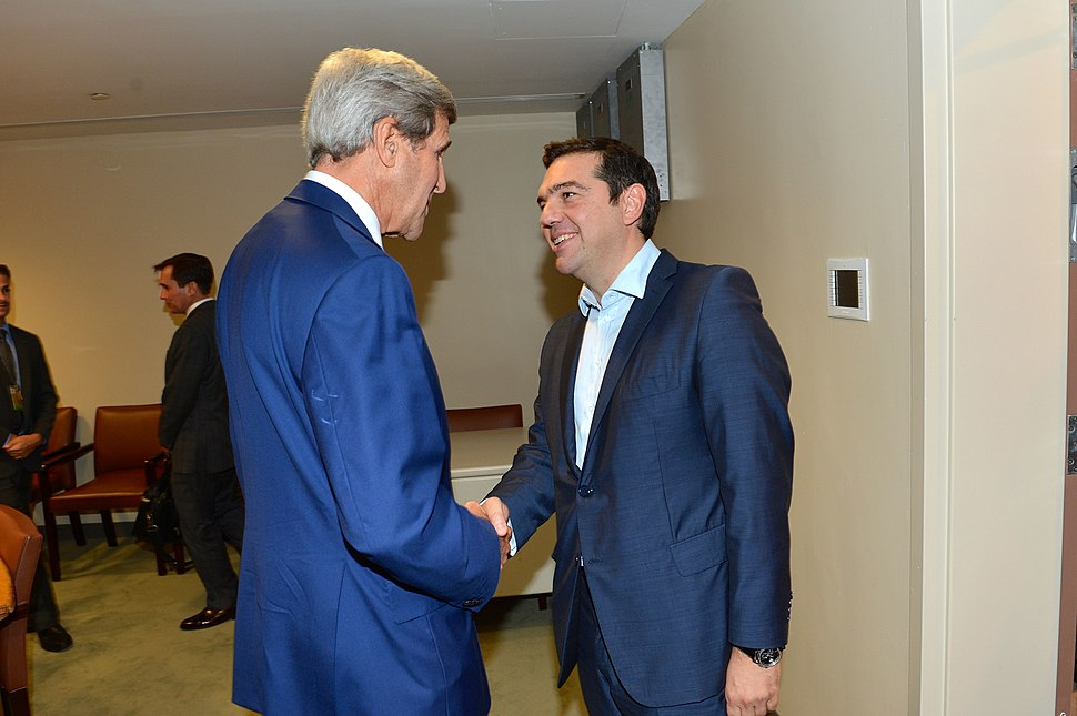 Secretary Kerry Greets Greek Prime Minister Tsipras Before Their Meeting at the UN in New York City (21825003046)