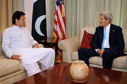 Khan with US Secretary of State John Kerry after the 2013 elections Secretary Kerry Meets With Pakistani Party President Imran Khan.jpg