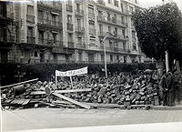 "Barricades in Algiers. ""Long live Massu"" (Vive Massu) is written on the banner. (January 1960)"