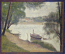 Pointillist painting of a small steamboat moored on the river Seine.