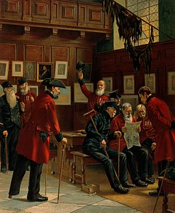 Several Chelsea Pensioners gathered around, one of whom is Wellcome V0012951