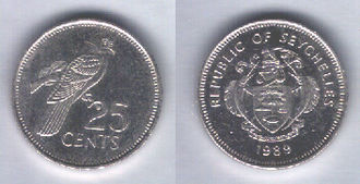 Seychellois rupee - Image: Seychelles 25 cents