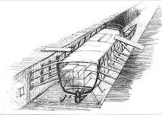 Roman shipyard of Stifone (Narni) - Graphic reconstruction of the shipyard drawn by the artist Alvaro Caponi