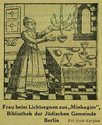 Shabbat candles - 1723 illustration of a Shabbat lamp