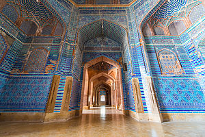 Shah Jahan Mosque, Thatta - The mosque's tile work exhibits Timurid influences introduced during Shah Jahan's campaigns in Central Asia.