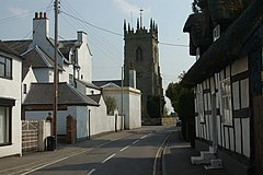 Shawbury parish church from the village centre.jpg