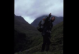 Scottish watershed - Dave Hewitt en route back to the watershed route after a rest day in Shiel Bridge in 1987.